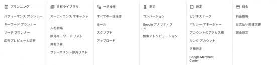 Google広告のツール選択テーブル
