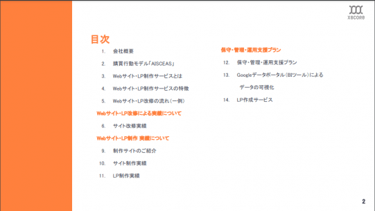 Webサイト制作のサービス資料スクリーンショット1