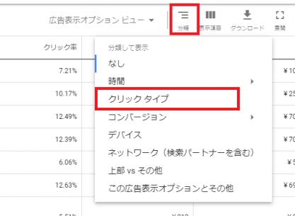 Googleでの広告表示オプションの成果確認1