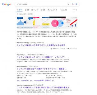 検索結果における競合のタイトル